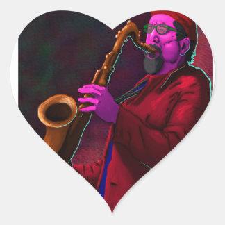 Saxophonist Heart Sticker