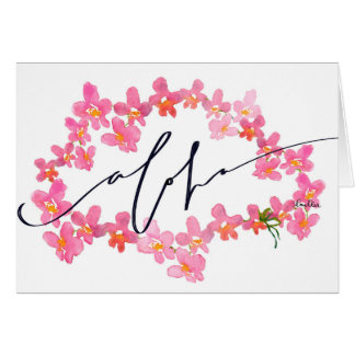 "Say ""Aloha"" with the Orchid Lei Blank Note Card"