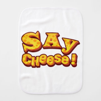 say cheese! burp cloth