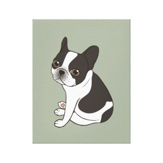 Say hello to the cute double hooded pied Frenchie Canvas Print