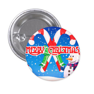 Say Merry Christmas With this Frosty Snowman 1 Inch Round Button
