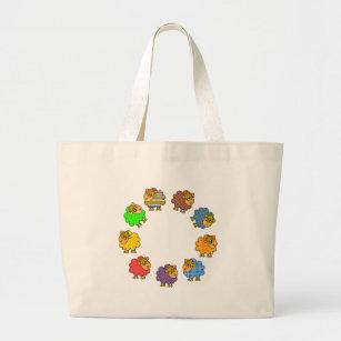 Say NO to Boring Sheep Garland of Colourful Sheep Large Tote Bag