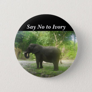 Say No to Ivory, Elephant Pinback Button