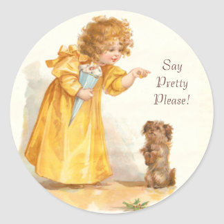Say Pretty Please Little Girl and Begging Puppy Round Sticker
