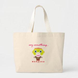 Say Something-Cute Monkey-Morocko Large Tote Bag