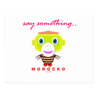 Say Something-Cute Monkey-Morocko Postcard