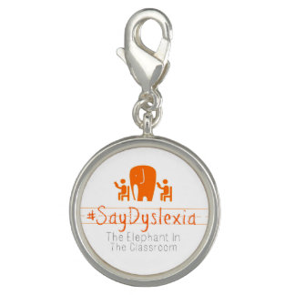 #SayDyslexia Round Charm, Silver Plated Photo Charms