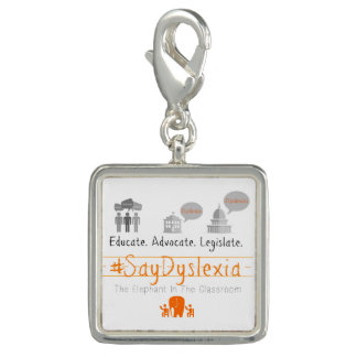 #SayDyslexia Square Charm, Silver Plated Charm