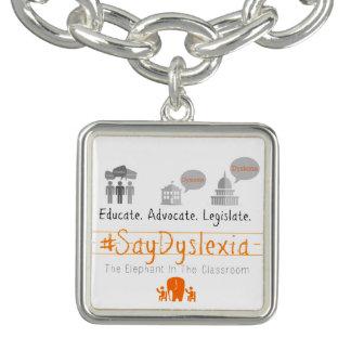 #SayDyslexia Square Charm, Silver Plated Charm Bracelet