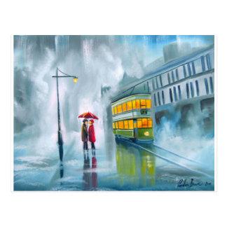 SAYING GOODBYE Tram oil painting rainy day Postcard