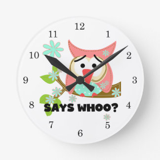 Says Whoo Owl Round Wallclock