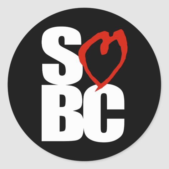 SBC Red Heart Black Classic Round Sticker