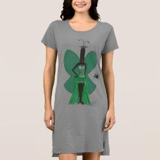 SBM Pseudo Celeb Green Ruffle Fashion Tshirt Dress