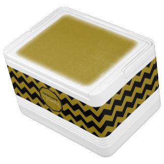 SC Chevron,Black-Gold-12 Can Igloo Cooler