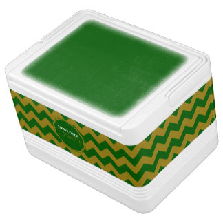 SC Chevron, Green-Gold-12 Can Igloo Cooler