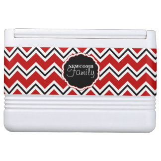 SC Chevron,Red-White-Black-12 Can Igloo Cooler