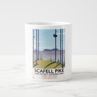 Scafell Pike, Cumbria, Vintage travel poster Large Coffee Mug