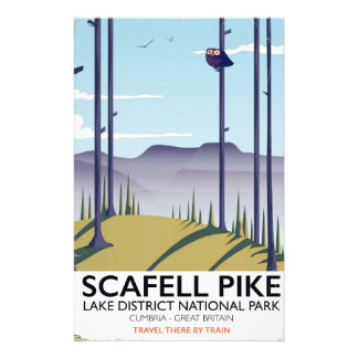 Scafell Pike, Cumbria, Vintage travel poster Stationery