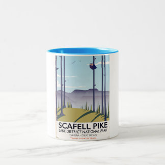 Scafell Pike, Cumbria, Vintage travel poster Two-Tone Coffee Mug