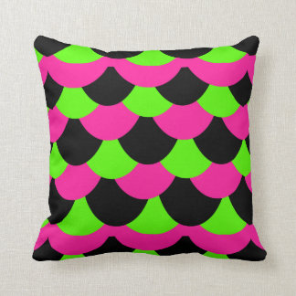 Scale Pattern-Hot Pink/Lime Throw Pillow