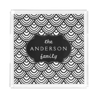 Scale Scallop Pattern Personalized Black and White Perfume Tray