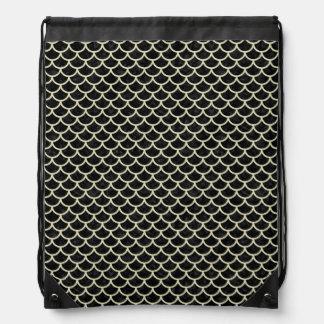 SCALES1 BLACK MARBLE & BEIGE LINEN DRAWSTRING BAG