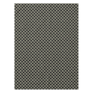 SCALES1 BLACK MARBLE & BEIGE LINEN TABLECLOTH