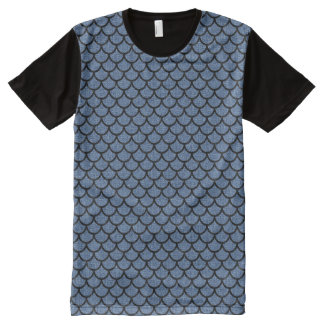 SCALES1 BLACK MARBLE & BLUE DENIM (R) All-Over-Print T-Shirt