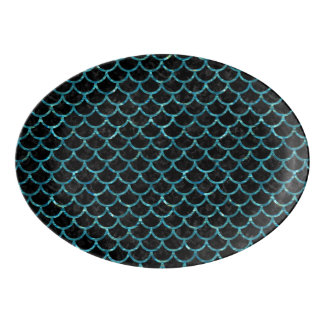 SCALES1 BLACK MARBLE & BLUE-GREEN WATER PORCELAIN SERVING PLATTER