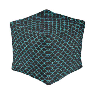 SCALES1 BLACK MARBLE & BLUE-GREEN WATER POUF