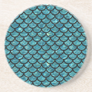 SCALES1 BLACK MARBLE & BLUE-GREEN WATER (R) COASTER