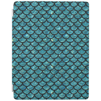 SCALES1 BLACK MARBLE & BLUE-GREEN WATER (R) iPad COVER