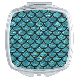 SCALES1 BLACK MARBLE & BLUE-GREEN WATER (R) MAKEUP MIRRORS