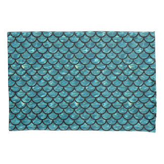 SCALES1 BLACK MARBLE & BLUE-GREEN WATER (R) PILLOWCASE