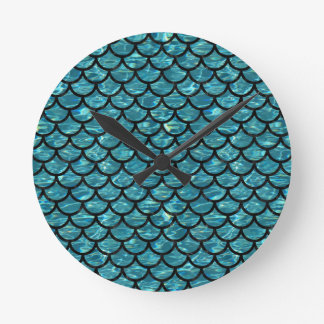 SCALES1 BLACK MARBLE & BLUE-GREEN WATER (R) ROUND CLOCK