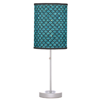 SCALES1 BLACK MARBLE & BLUE-GREEN WATER (R) TABLE LAMP