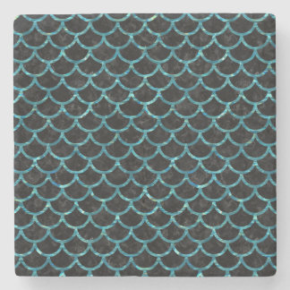 SCALES1 BLACK MARBLE & BLUE-GREEN WATER STONE COASTER