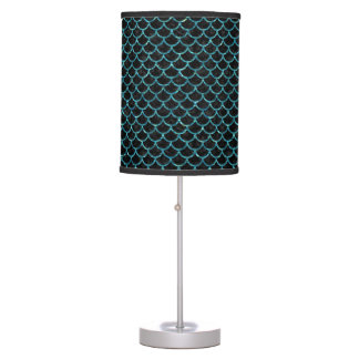 SCALES1 BLACK MARBLE & BLUE-GREEN WATER TABLE LAMP