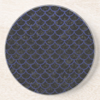 SCALES1 BLACK MARBLE & BLUE LEATHER COASTER