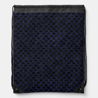 SCALES1 BLACK MARBLE & BLUE LEATHER DRAWSTRING BAG