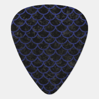 SCALES1 BLACK MARBLE & BLUE LEATHER GUITAR PICK