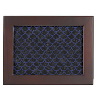 SCALES1 BLACK MARBLE & BLUE LEATHER KEEPSAKE BOX