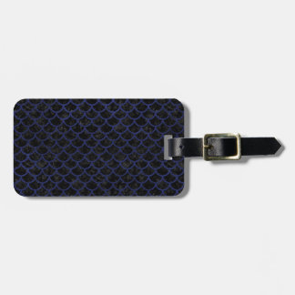 SCALES1 BLACK MARBLE & BLUE LEATHER LUGGAGE TAG