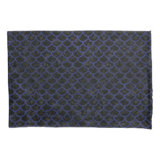 SCALES1 BLACK MARBLE & BLUE LEATHER PILLOWCASE