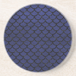 SCALES1 BLACK MARBLE & BLUE LEATHER (R) COASTER