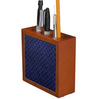 SCALES1 BLACK MARBLE & BLUE LEATHER (R) DESK ORGANIZER