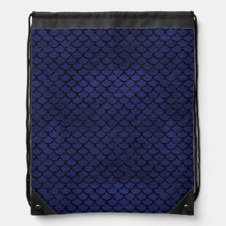 SCALES1 BLACK MARBLE & BLUE LEATHER (R) DRAWSTRING BAG