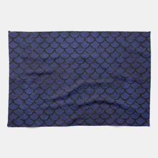 SCALES1 BLACK MARBLE & BLUE LEATHER (R) KITCHEN TOWEL