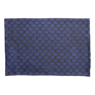 SCALES1 BLACK MARBLE & BLUE LEATHER (R) PILLOWCASE