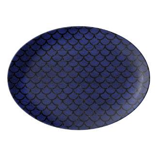 SCALES1 BLACK MARBLE & BLUE LEATHER (R) PORCELAIN SERVING PLATTER